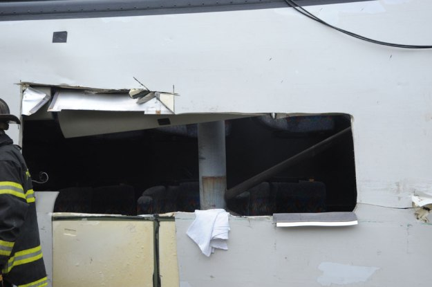 New England Thruway Bus Crash, March 12, 2011 - Closeup of Cut in Roof of Bus