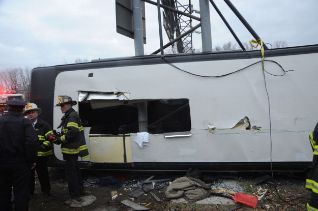 New England Thruway Bus Crash, March 12, 2011 - Cut in Roof of Bus