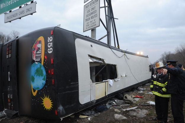 New England Thruway Bus Crash, March 12, 2011 - Outside Bus