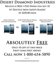 Get a FREE iPad or iPad Mini when you buy 10 Safety Blades! See this flyer for details!