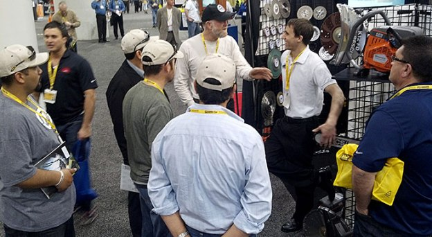 Gionni Mione of Desert Diamond Industries Attracting Crowd at World of Concrete 2013