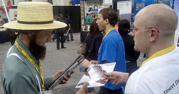 Glen Hellebrand of Desert Diamond Industries with Man in Straw Hat and Beard at World of Concrete