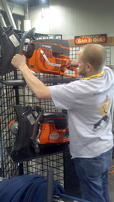 Glen Hellebrand Setting Up Saws during World of Concrete 2013