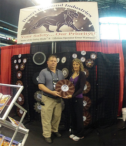 Customers with Fire Rescue Safety Blade at FDIC 2013
