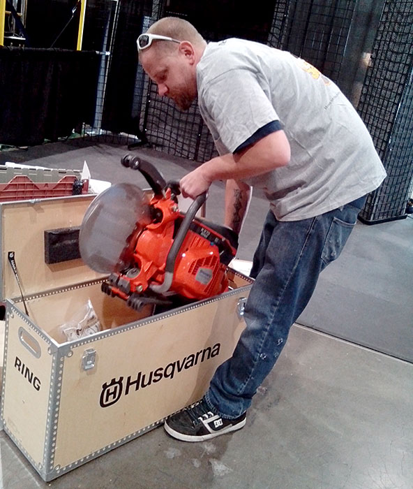 Glen Hellebrand Unpacking a Husqvarna K970 Ring Saw at World of Concrete 2014
