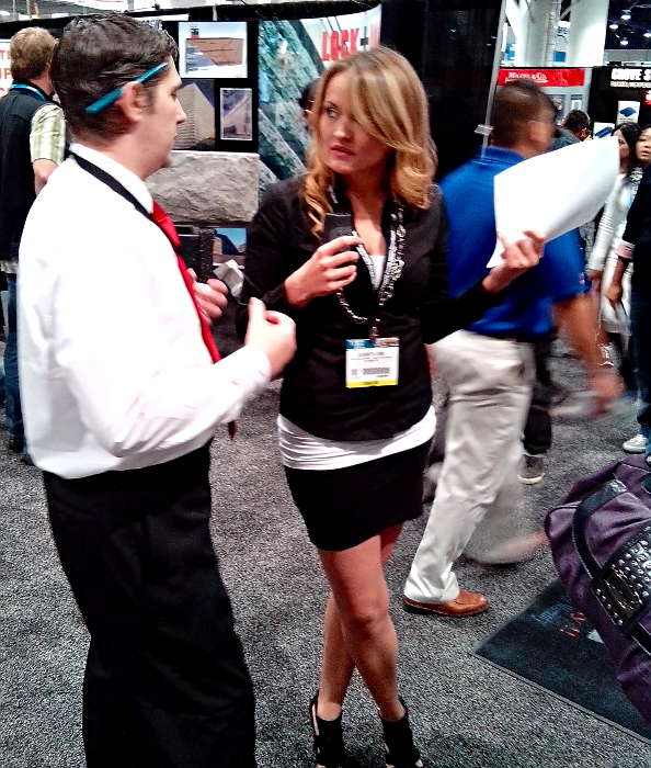 Mike Harris of Desert Diamond Industries with Elisabeth Lund at World of Concrete 2014