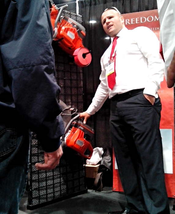 Nicholas Mione of Desert Diamond Industries Showing Off Saws at World of Concrete 2014