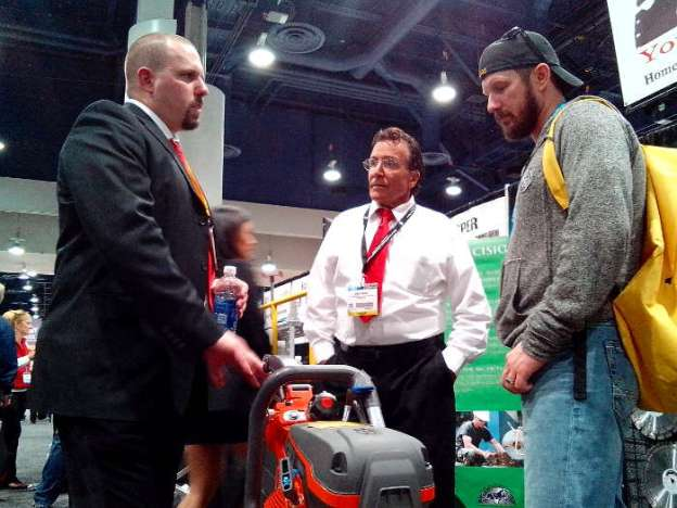 Troy Fullerton and Benny Mione Selling Husqvarna K970 Ring Saw at World of Concrete 2014