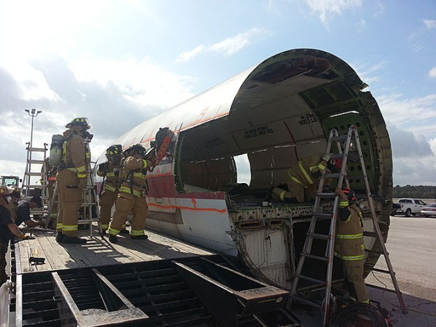 Houston Airport Fire Rescue Squads Using Fire Rescue Safety Blade on Boeing 727